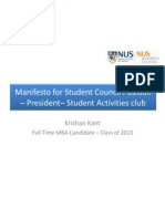 Manifesto for Student Council Position – President - Student Activities Club
