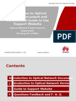 Introduction to Optical Network Document and Version, And Guide to Support Website