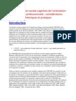 Une conception sociale cognitive de l'orientation scolaire et professionnelle  considérations théoriques et pr
