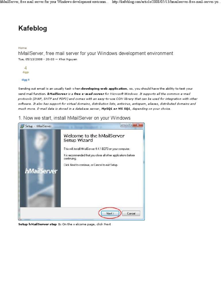 hMailServerConfiguring | Email | Microsoft Windows