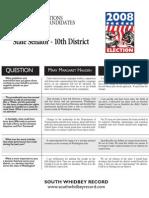 Q&A 10th District Senate 08