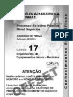 Prova Petrobras 2004 Eng Equip Junior Mecanica