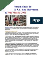 Los 50 Pensamientos de Benedicto XVI Que Marcaron La JMJ Madrid 2011