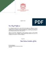 Royal House of Sulu. 28.08 HRH Raja Muda Muedzul Lail Tan Kiram of Sulu birthday Letter