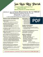 Bulletin for 8-28-2011