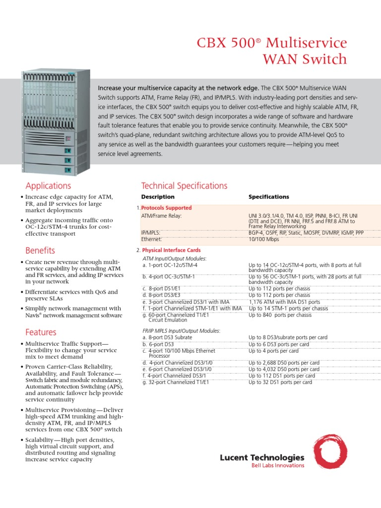Cbx 500 Multi Service Brochure Network Switch Asynchronous Module With 6port And Cable Distribution Transfer Mode
