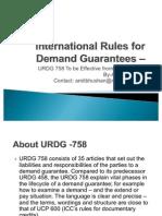 International Rules for Demand Guarantees – URDG 758