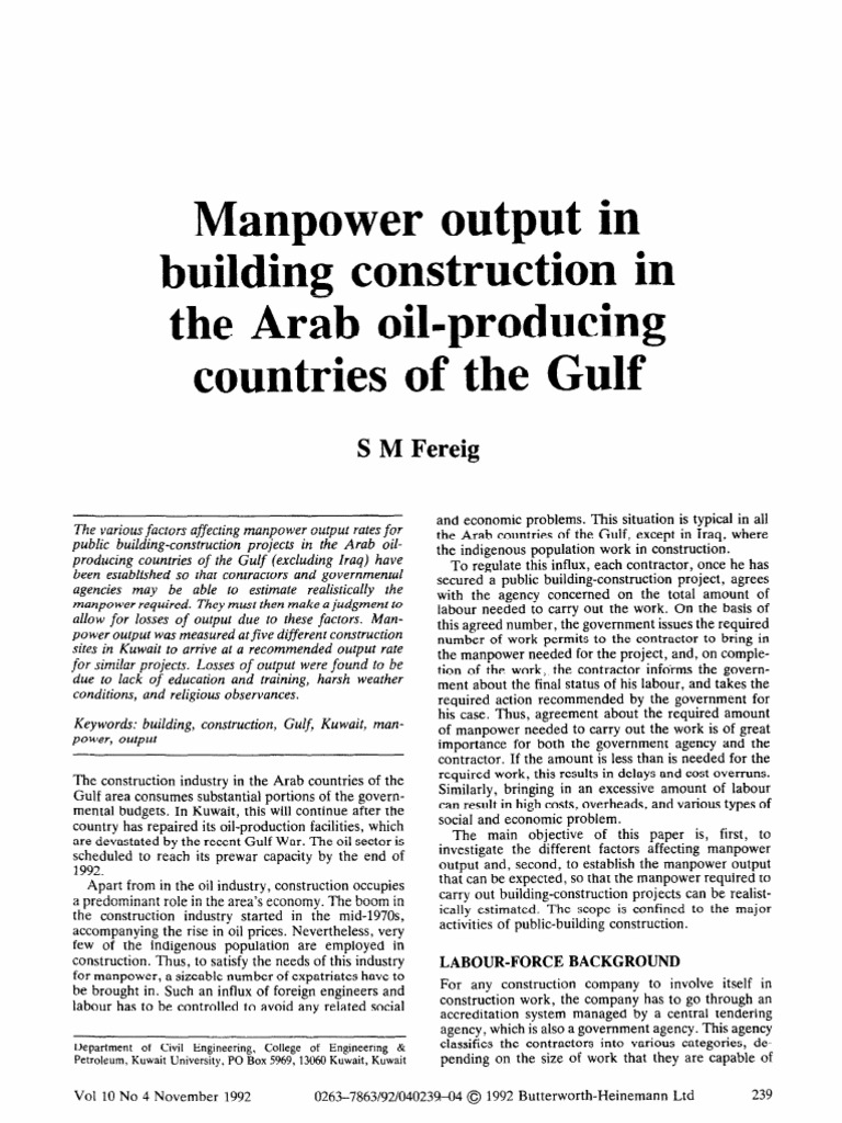 Man Power Output in Building Const | Kuwait | Labour Economics