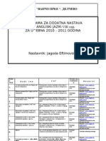 Programa Za Dodatna Nastava za VIII odd.