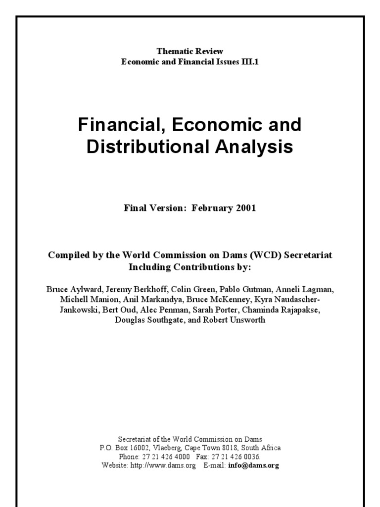 Aylward Et Al. - Financial Economic and Distributional Analysis (Version  Final) - WCD | Cost–Benefit Analysis | Economics