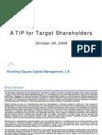Pershing Square to Target Shareholders Regarding Real Estate Spinoff