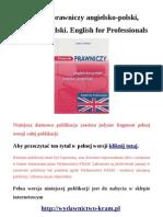 Słownik prawniczy. Angielsko-polski, polsko-angielski. English for Professionals