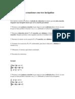 Sistemas de tres ecuaciones con tres incógnitas