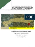 """Resumen ejecutivo del Proyecto """"SISTEMA DE ABASTECIMIENTO DE AGUA POTABLE PARA LAS COMUNIDADES DE LA REGIONAL LA HOYADA - LIMAS, PARROQUIA VICENTINO, CANTÓN PUYANGO"""""""