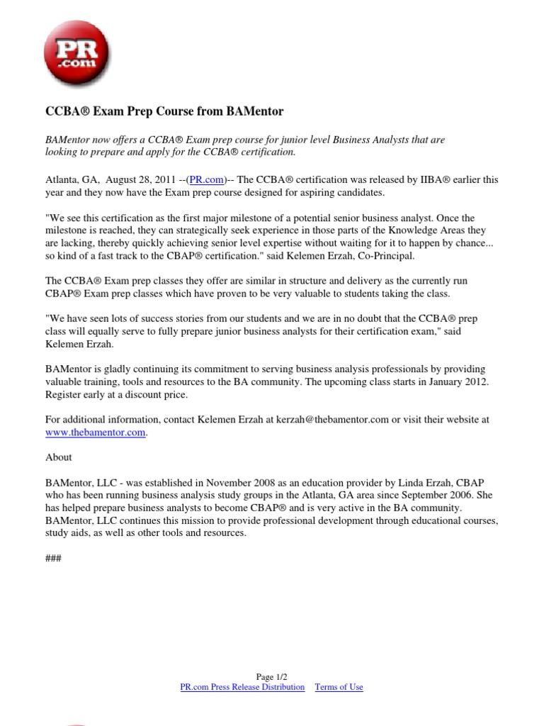 Ccba Exam Prep Course From Bamentor