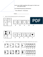 11+ Non Verbal Reasoning Assessment