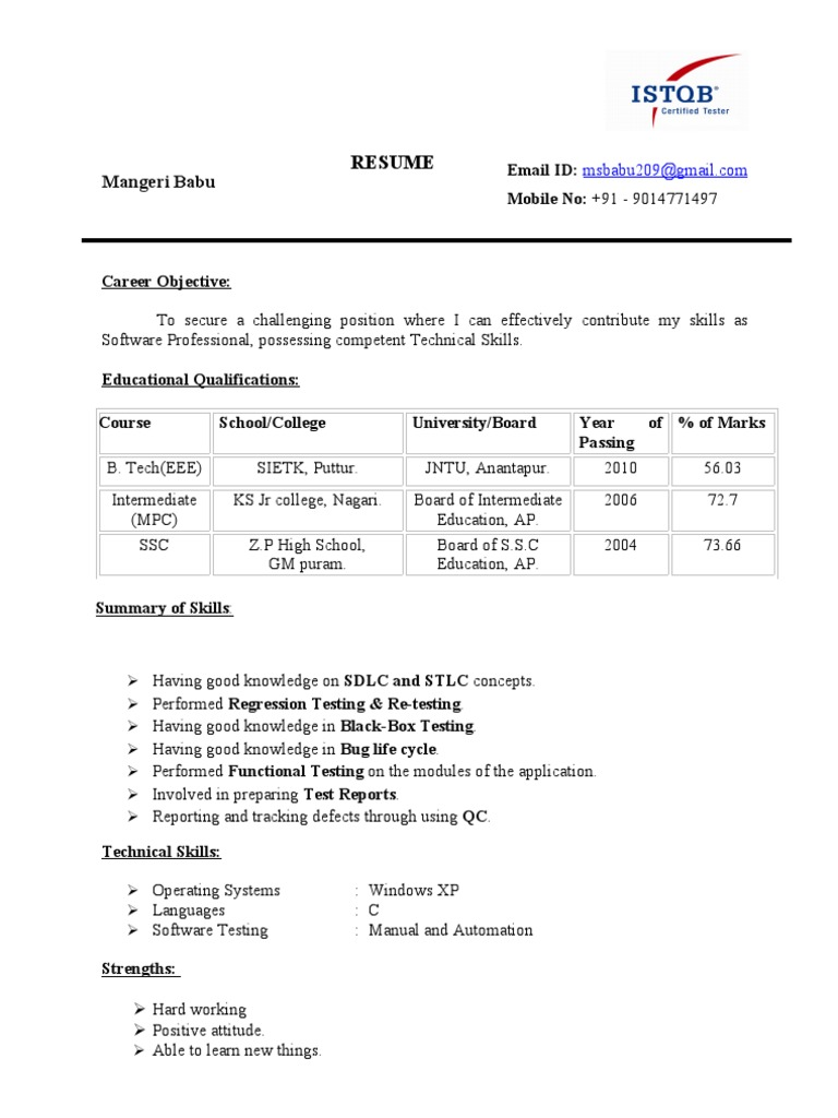 resume babu eee fresher istqb certified
