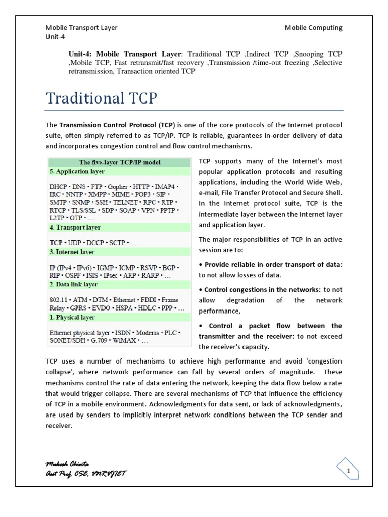 Indirect TCP, Snooping TCP, Mobile TCP--Mobile Transport