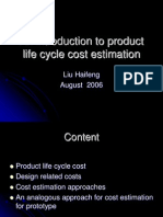 An Introduction to Product Life Cycle Cost Estimation