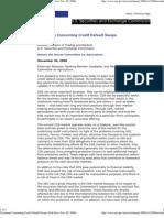 Testimony Concerning Credit Default Swaps SEC Erik Sirri SEC