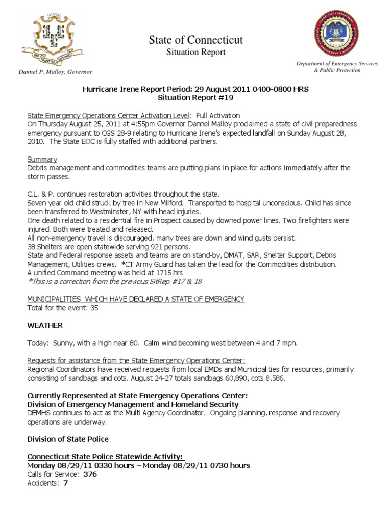 Situation Report 19 24 Aug 2011 Hurricane Irene 08-29-11