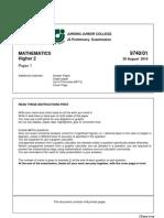 JJ 9647 H2 Maths Prelim 2010 Plus Solutions