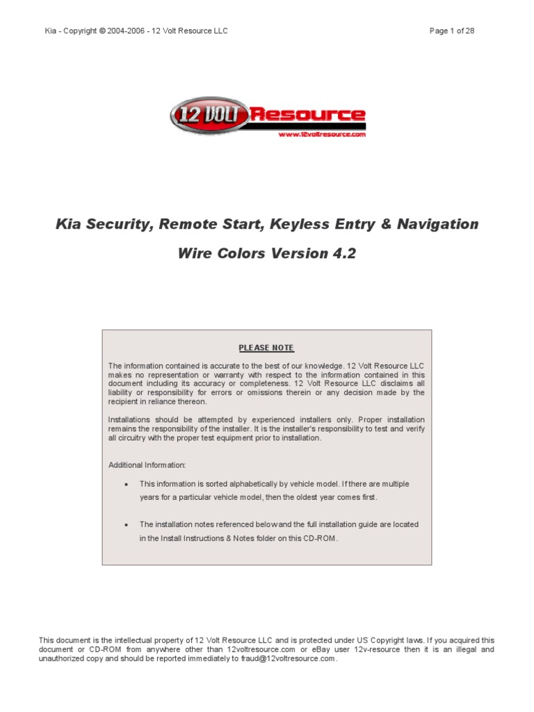 Kia - Alarm  U0026 Remote Start Wiring