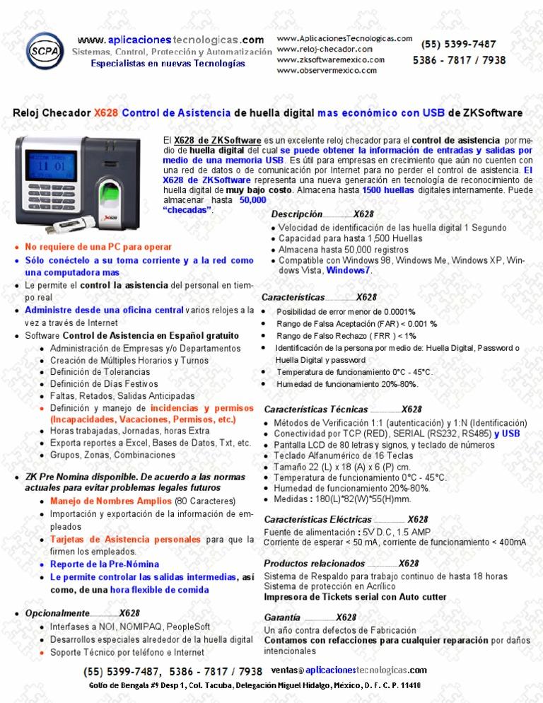 ZKSoftware X628 Reloj Checador Con USB Huella Digital MAS