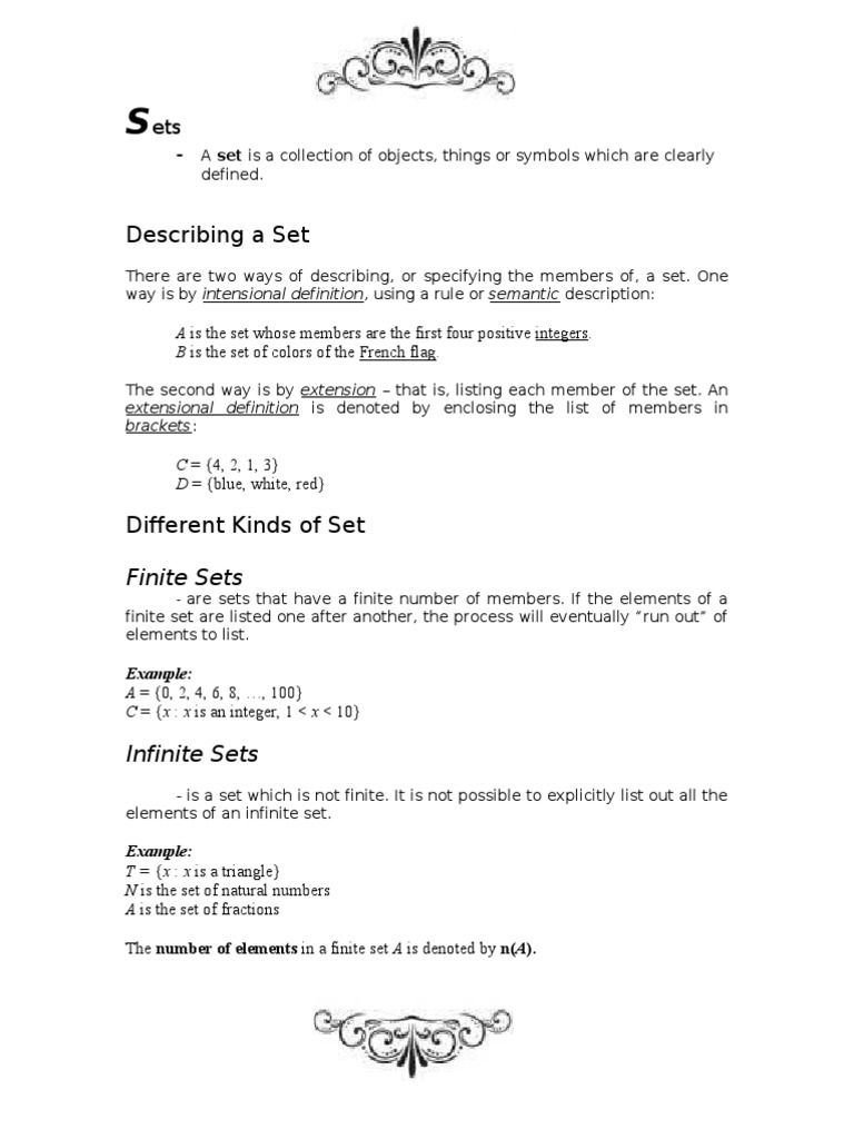 Finished Assignment About Sets Set Mathematics Definition
