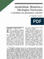 Autenticidade_Memória e Ideologias Nacionais