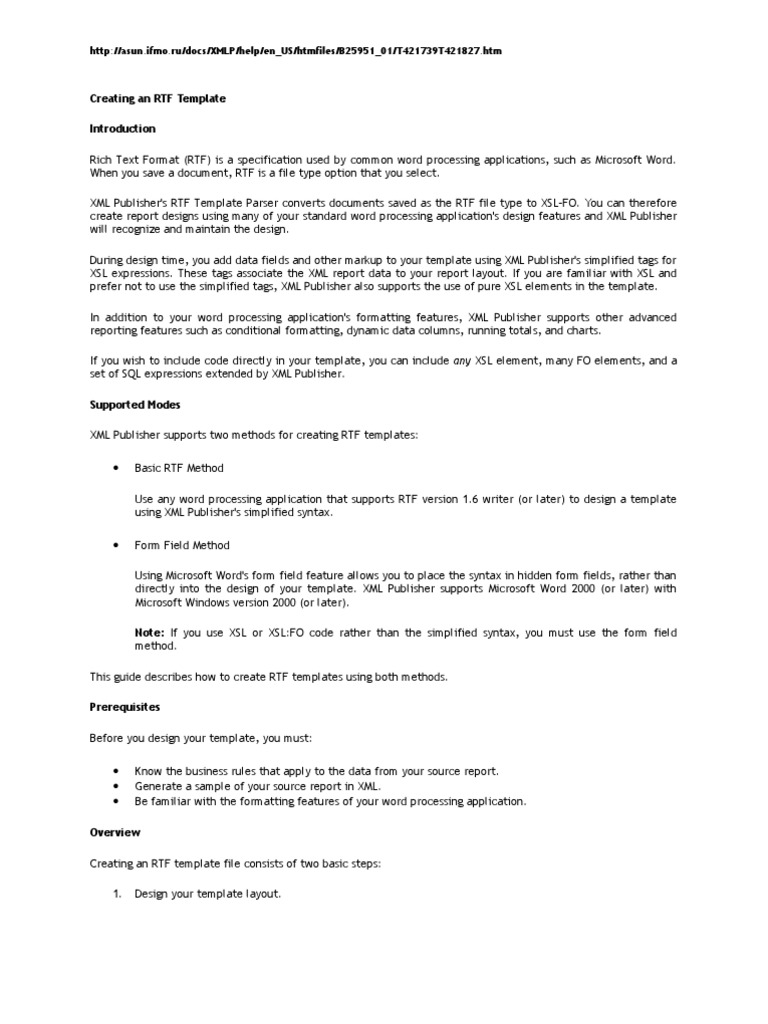 XML Pub Tutorial | Xml | Microsoft Word