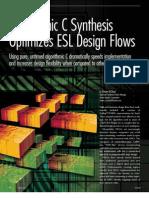 Algorithmic C Synthesis Optimizes ESL Design Flows