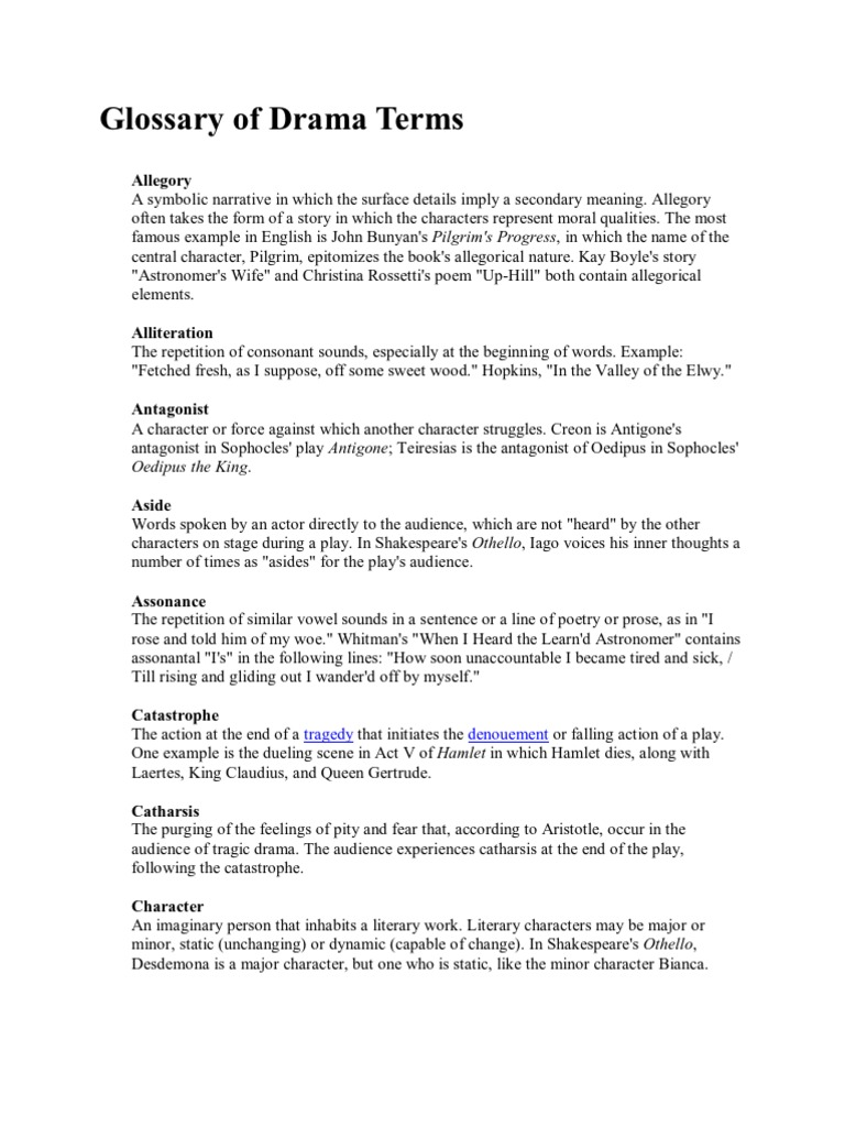 Glossary Of Drama Terms Tragedy Poetry