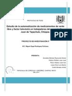 Estudio de la automedicación de medicamentos de venta libre y factor televisión en trabajadores del mercado San Juan de Tapachula, Chiapas.