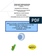 Résultats de l'enquête de survéillance biologique de l'infection par VIH et de la syphilis à Madagascar - année 2010 - Rapport final (MINISTERE DE LA SANTE PUBLIQUE - 2011)