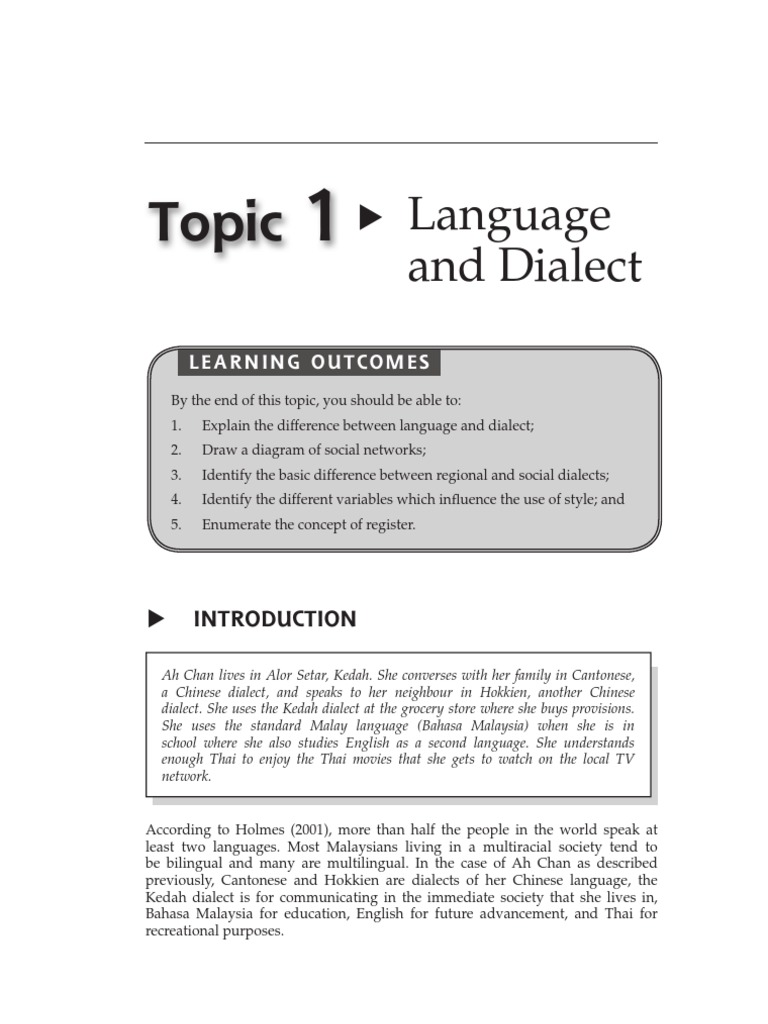 difference between language and dialect