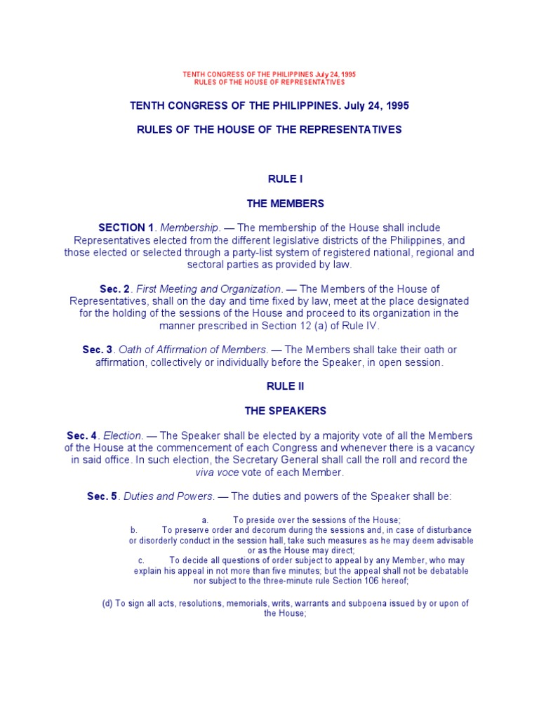 hrep rules | united states house of representatives | quorum
