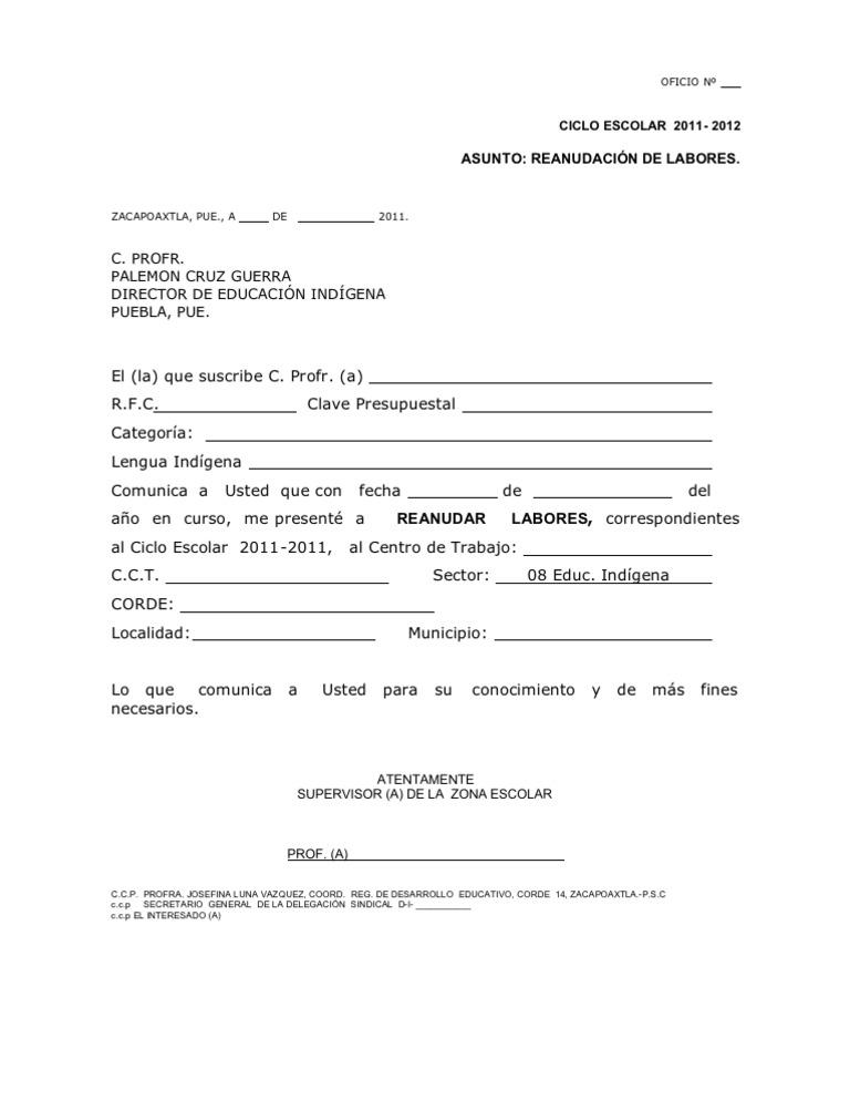 Formato Reanudacion de Labores 2011-2012