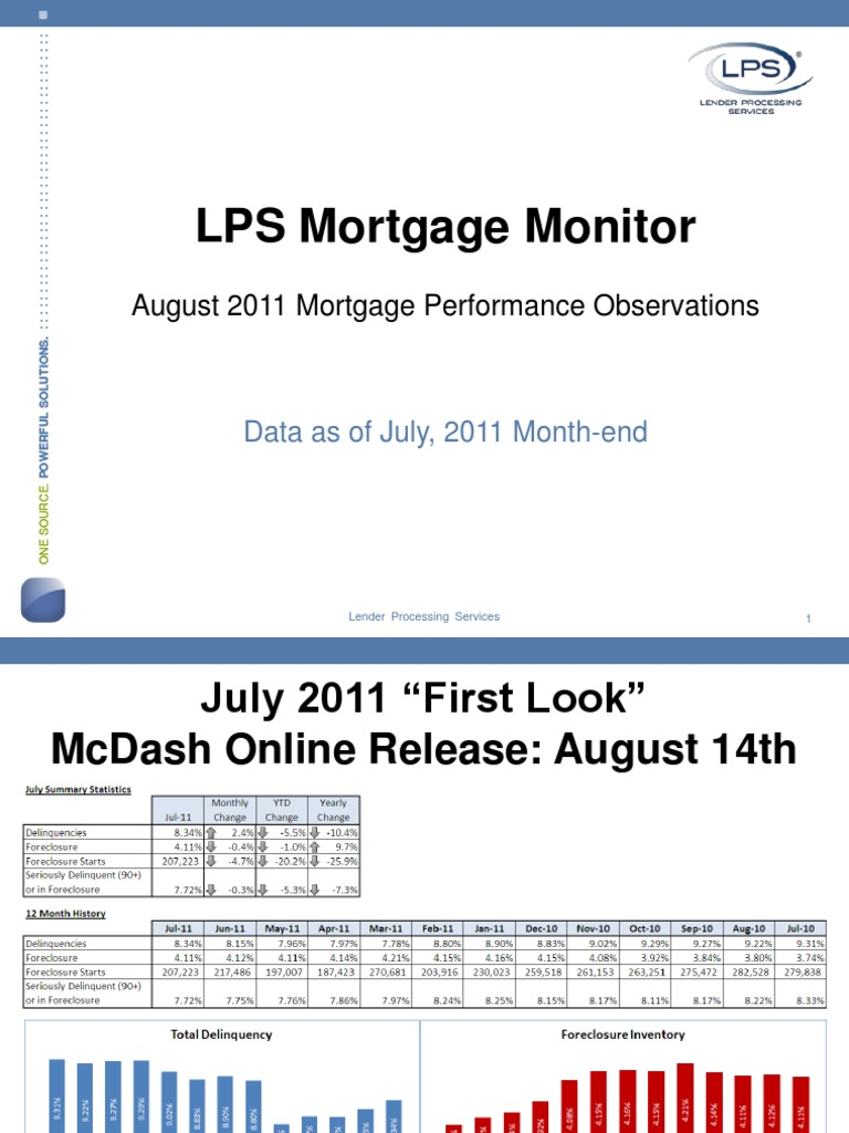 LPS Mortgage Monitor Report August 2011 | Foreclosure | Loans