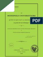 Séverin Jules - Le monopole universitaire (1905)