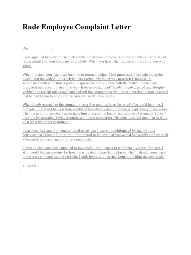 Sample Complaint Letter For Rude Behaviour from imgv2-2-f.scribdassets.com