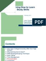 Study Skills Workshop-2011-Student Orientation
