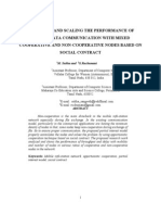 ANALYZING AND SCALING THE PERFORMANCE OF MOBILE DATA COMMUNICATION WITH MIXED COOPERATIVE AND NON-COOPERATIVE NODES BASED ON SOCIAL CONTRACT