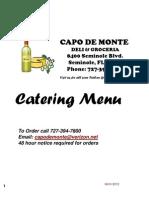 Capo de Monte Catering Menu