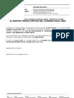 El ministro @CarlosTomada asistirá al Congreso Anual de AEDA