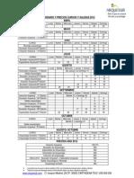 Calendario y Precios Cursos,Salidas 2012