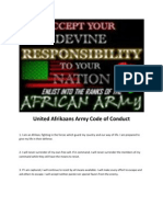 United Afrikaans Army Code of Conduct