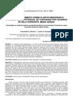 CONHECIMENTO SOBRE PLANTAS is E Fitoterapicos e Potencial Toxico Por Usuarios de BH
