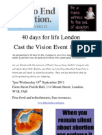 40 Days for Life London Cast Vision Flyer September 2011