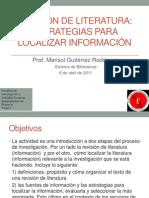 Revisión de literatura - Estrategias para localizar información